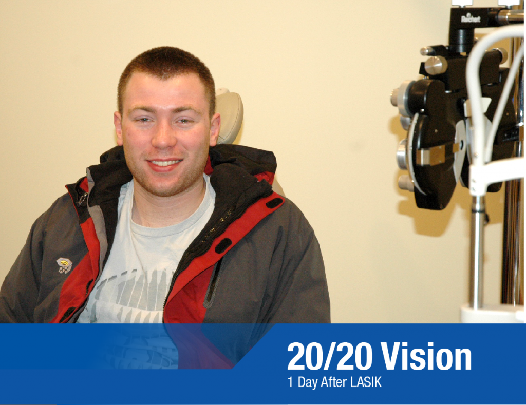 Jared Stephany 20/20 Vision 1 Day After LASIK